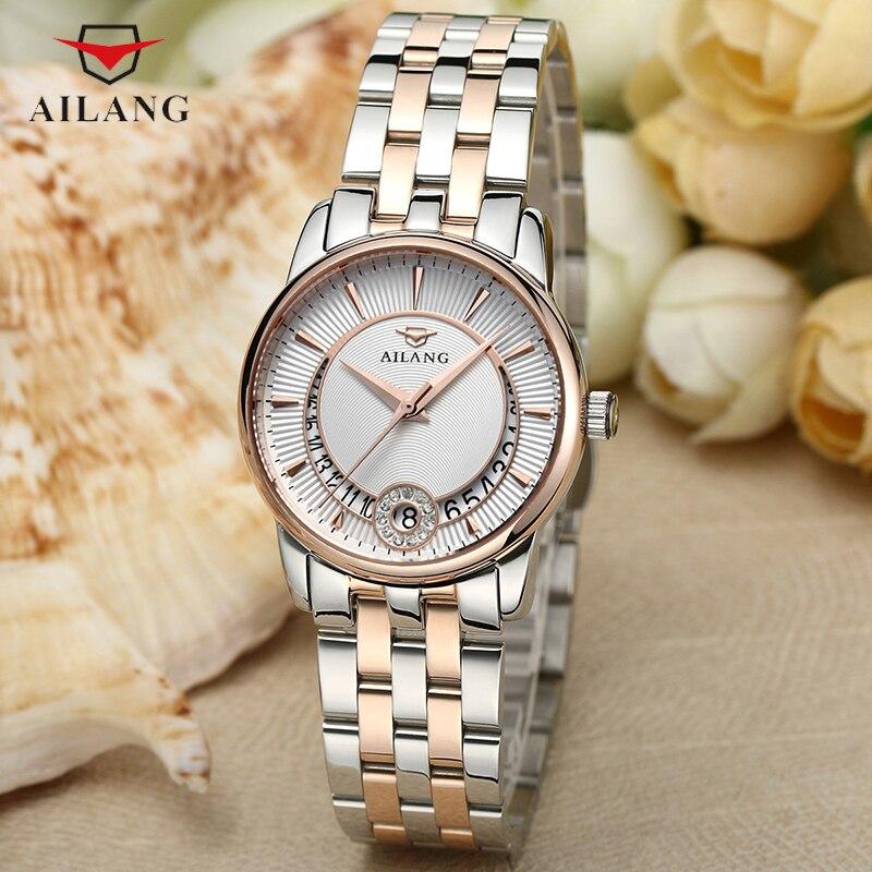 Ailang Для женщин классический Бизнес часы Элегантные часы Роскошные Водонепроницаемый наручные часы со стразами женские кварцевые часы A092