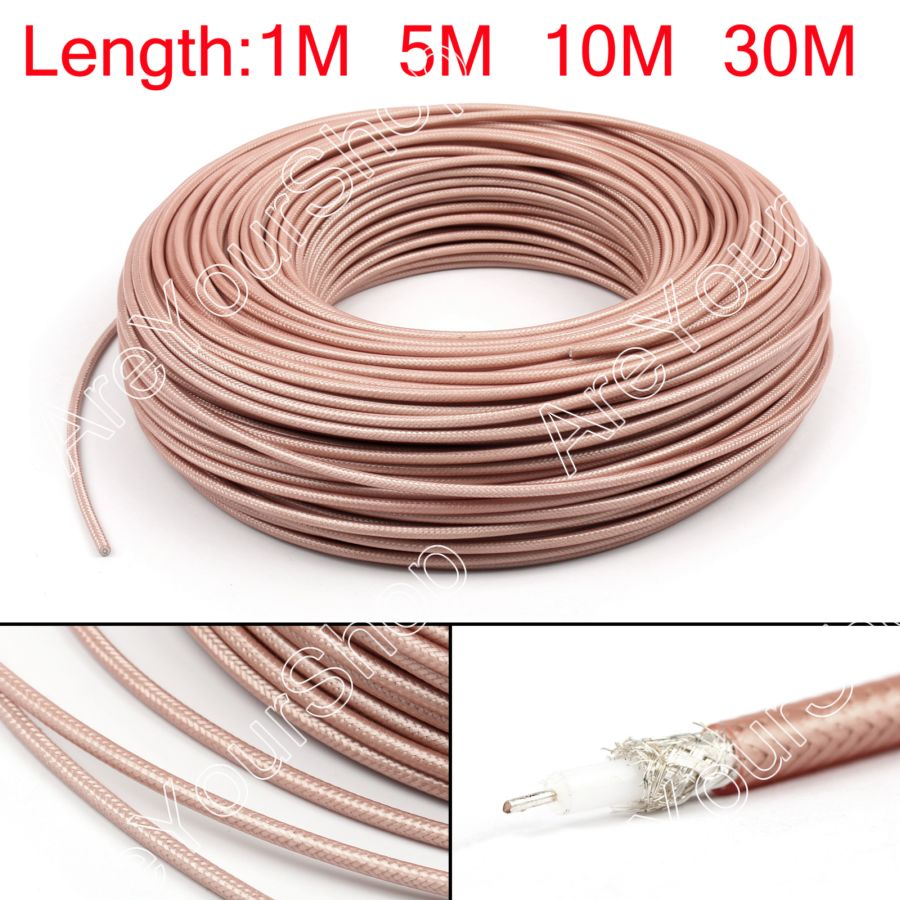 Areyourshop RG142 RF Coaxial Cable Connector 50ohm M17/60 RG-142 Coax Pigtail 1m 5m 10m New Cable Connector