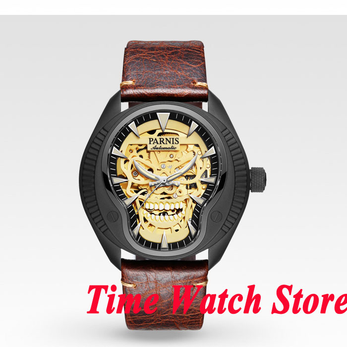 40mm Parnis hollow skeleton dial mens watch 710 PVD case gold MIYOTA movement 40mm parnis white dial vintage automatic movement mens watch p25