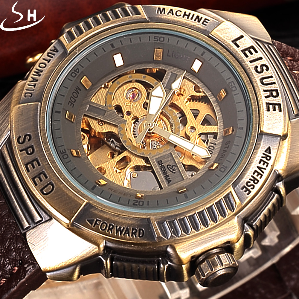 SHENHUA Bronze Automatic Mechanical Watch Men Skeleton Watch Luxury Brand Clock Leather Strap Sport Watch Military Sport Watches luxury brand shenhua steampunk transparent skeleton crystal flywheel automatic genuine leather strap dress mens mechanical watch