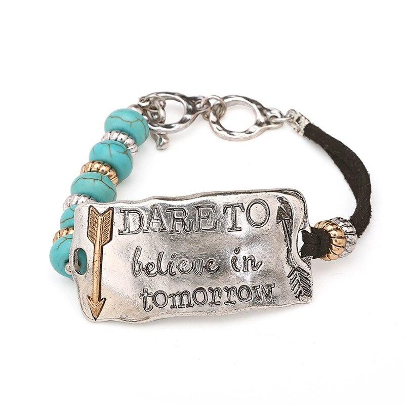 Кожаный браслет женский с камнем