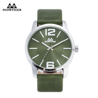 Snowtiger Green And Black Leather Neutral Simple Fashion Business Dress Women Sport Watch Female Round Man