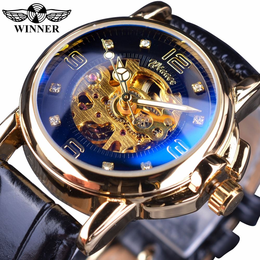 Winner Golden Case Blue Glass Engrave Lady Design Women Openwork Skeleton Fashion Casual Men Mechanical Watches Top Brand Luxury