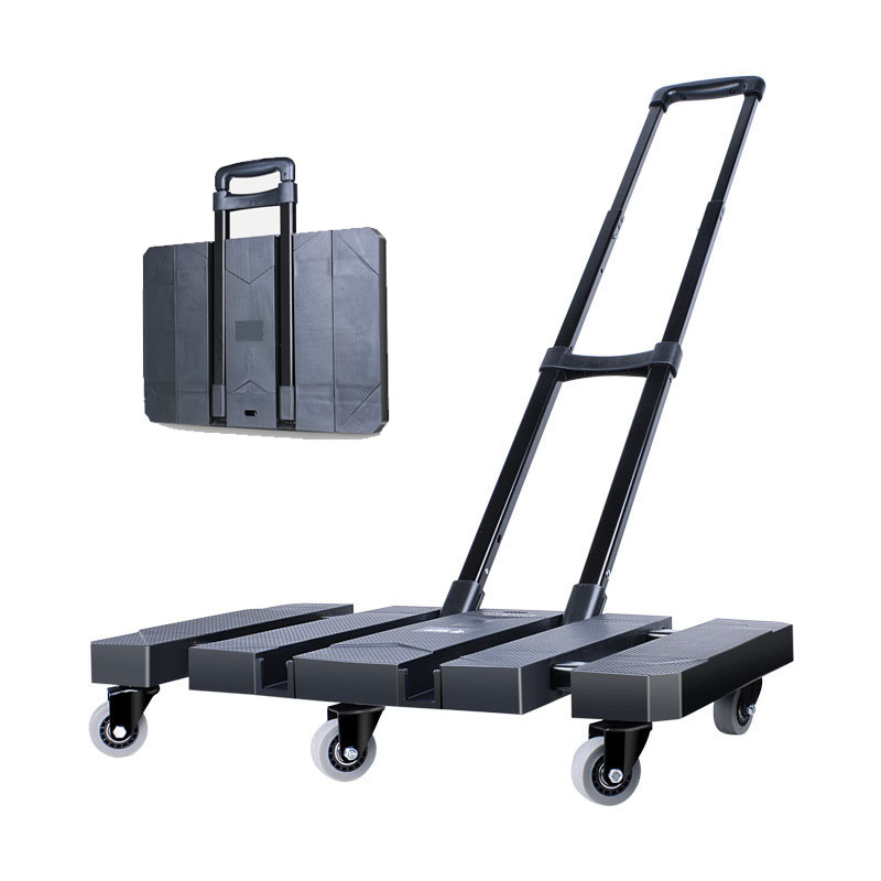 Mini Carriage Chassis Telescopic Trolley Trailer Tractor Pull Truck Cart Small Folding Portable Travel Luggage Cart
