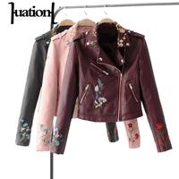 Huation Embroidery Faux Leather Coat Motorcycle Zipper Pu Pink Leather Jacket Women Fashion Black Outerwear Autumn