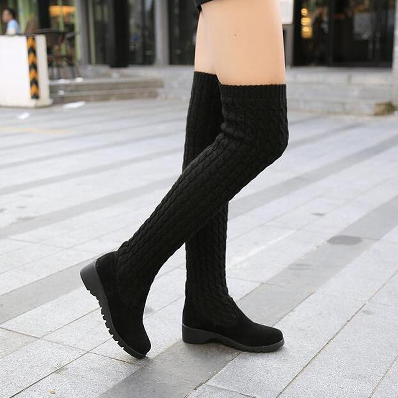 2016 Fashion Knitted Women Knee High Boots Elastic Slim Autumn Winter Warm Long Thigh Woman Shoes Size 40#CXL21