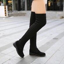 2016 Mode Tricoté Femmes Genou Haute Bottes Élastique Mince Automne Hiver Chaud Longue Cuisse Haute Bottes Femme Chaussures Taille 40 # CXL21
