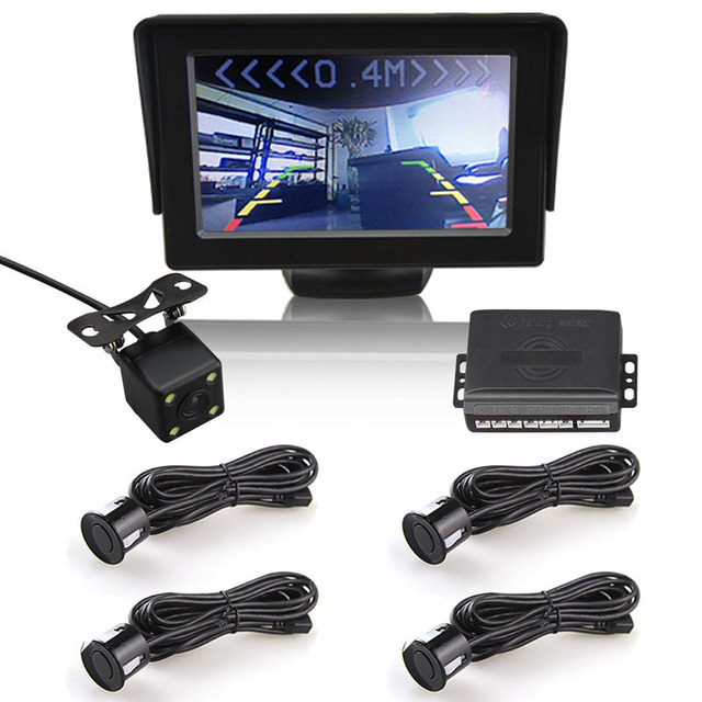 Free Shipping Car Visible Parking Sensor System 4.3 Inch LCD  Monitor And Waterproof Parking Rear view Camera Reversing Sensor