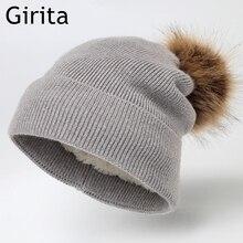 Girita Winter Women's knit hat fleece lined Hats crochet Skullies Beani