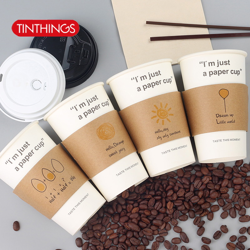 50 pcs Cup sleeve for 12/16oz disposable coffee cups Stick figure Double-deck kraft paper Cup sleeve Anti-hot Customized suppler