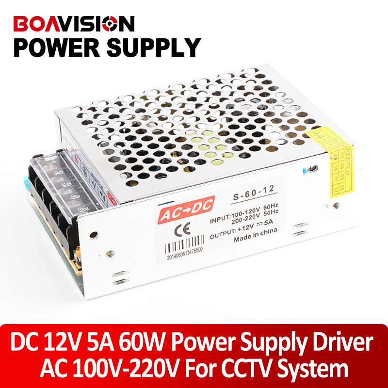 High Quality Mini Size LED Switching Power Supply DC 12V 5A 60W Transformer AC 110/220V Input Work With CCTV Camera ac dc switching power supply 12v 15w 220v 110v to 12v dc adapter for led display led string led sign high efficiency mini size