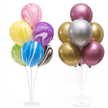 7 Tubes Balloons Holder Column Stand Clear Plastic Balloon Stick Birthday Party Decoration Kids Wedding Balloons Supporting Rod