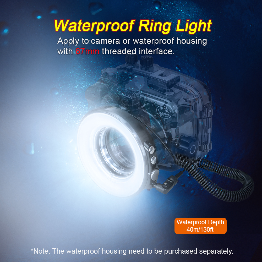 SL-108 67mm Waterproof Underwater Diving LED Ring Light For Olympus TG-5 TG5 TG-4 Sony A7 II A7R II Housing Case lg 1 lg1 led light quide macro ring auxiliary flash for olympus tough tg 1 tg 2 tg 3 tg 4 tg 5 tg1 tg2 tg3 tg4 tg5 camera