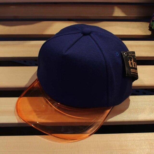 summer sun-shading hat transparent plastic hat brim cap hip-hop cap  baseball cap plastic bill plain snapback cap 5b7fdeb87a7