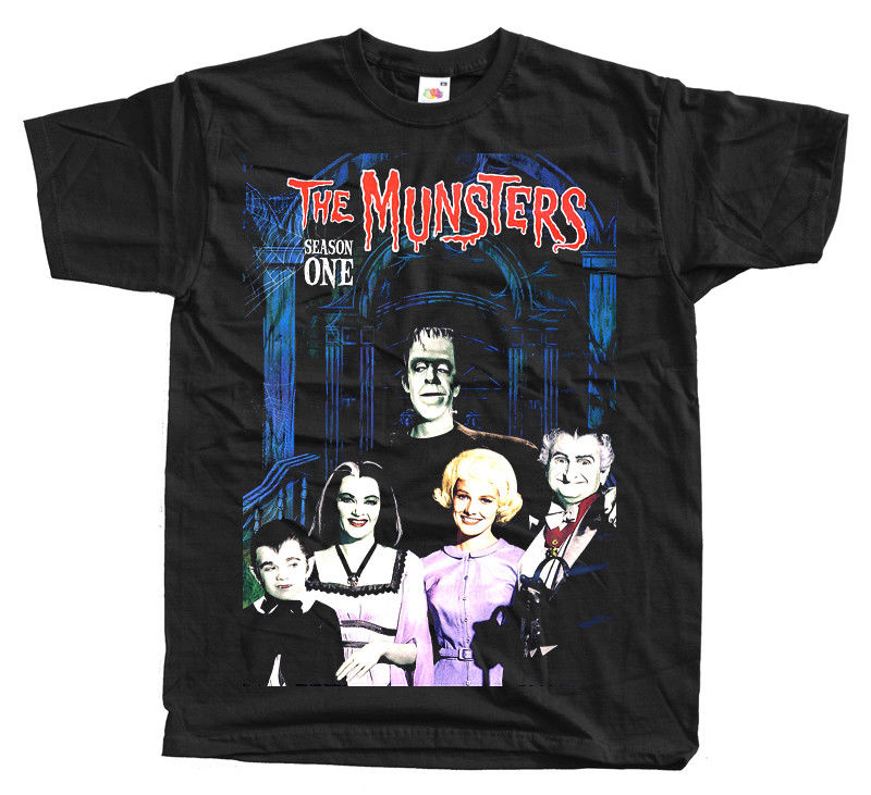 The Munsters Season One Movie Black Navy T Shirt All Sizes S 4Xl
