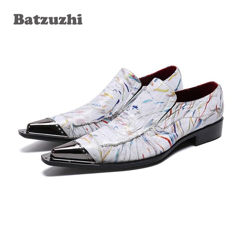 US $77.5 38% di SCONTO|Batzuzhi Italiano Tipo di Scarpe Da Uomo scarpe A Punta di Metallo Formale Scarpe Da Sera di Business Scarpe di Cuoio Maschio