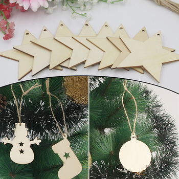 Hot 10PCS/Lot Xmas Tree Wooden Pendants Ornaments Tree Snowflakes Deer DIY Christmas Party Decorations Ornaments image