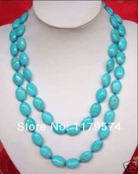 "Free shipping wholesale and retail  New product  Beautiful13X18MMblue turquoise Necklace 50"" WJ347"