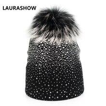 Laurashow Для женщин вязаный шерстяной Шапки с реального норки Мех мяч помпонами зимние теплые Взрослых Шапочки Кепки
