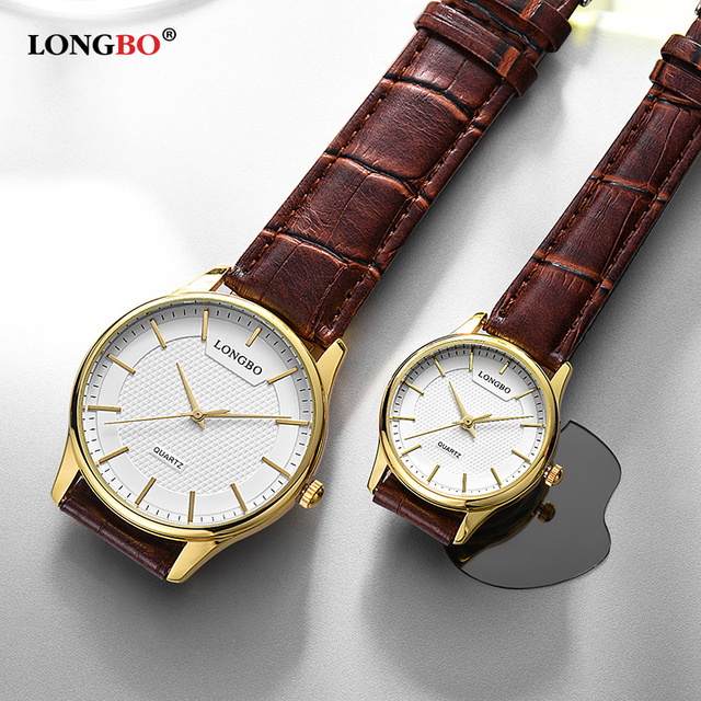 LONGBO Reloj Mujer Fashion Couple Watch Luxury Leather Men Women Watches Casual