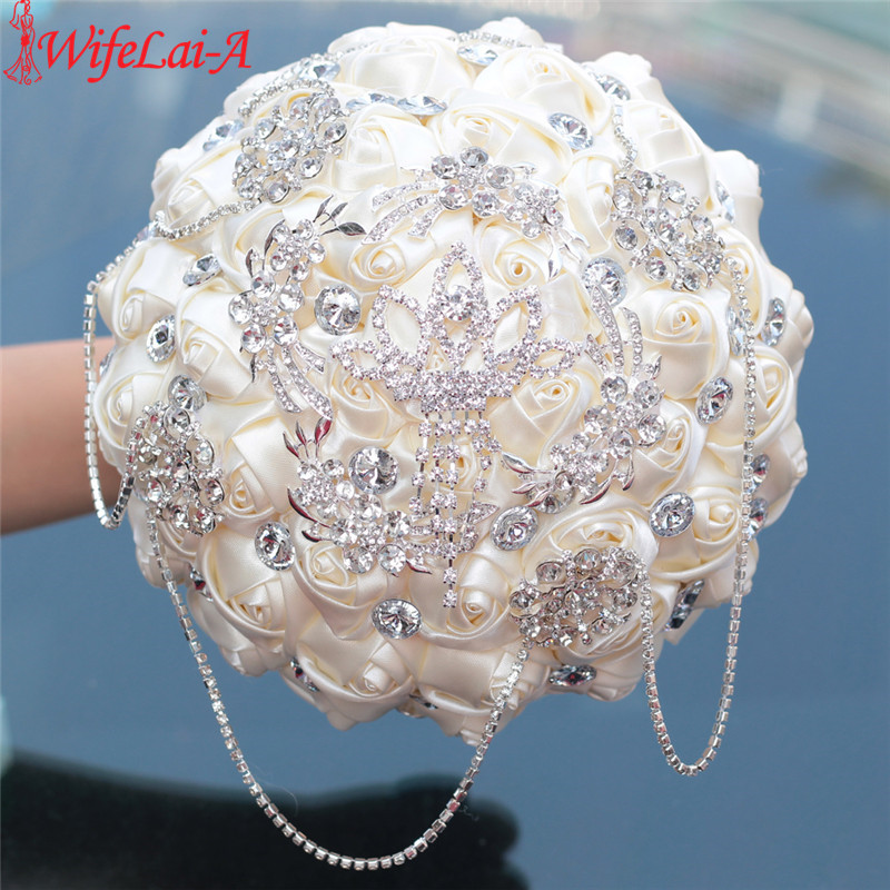 WifeLai-A Prom Superb Ivory Rose Diamonds Tassels Stitch Wedding Bouquet Bridal Mariage Brooch Bouquet Flowers In Stock W2218-26