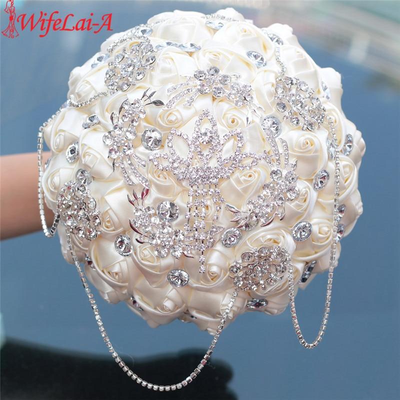 WifeLai-A Prom Superb Ivory Rose Diamonds Tassels Stitch Wedding Bouquet Bridal Mariage Brooch Bouquet Flowers In Stock W2218-26