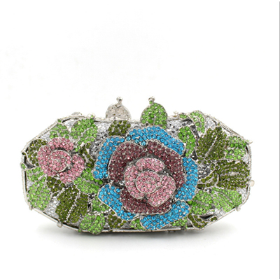 Women Clutch Bag Rose Flower Crystal Evening Bags Party Gold Wedding Clutches luxury crystal clutch handbag women evening bag wedding party purses banquet