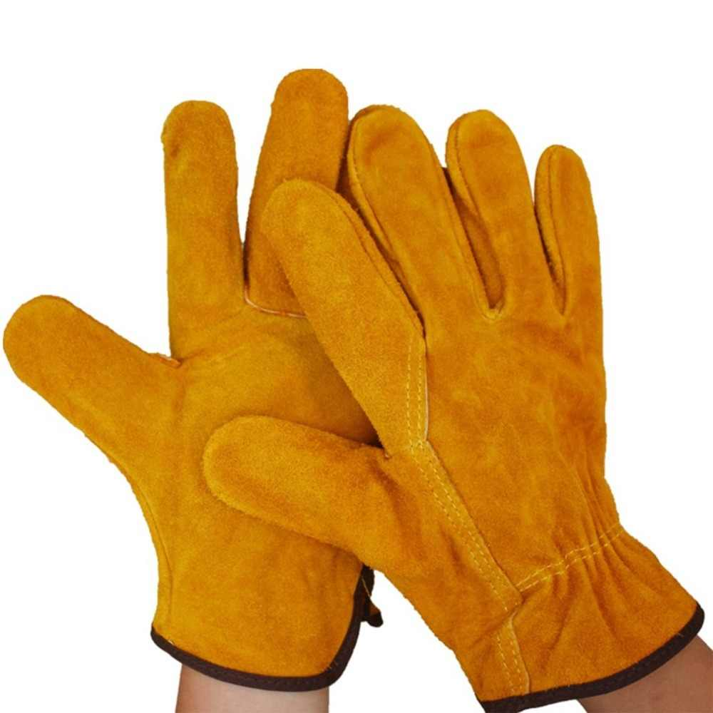 A Pair/Set Fireproof Durable Yellow Cow Leather Welder Gloves Anti-Heat Work Safety Gloves For Welding Metal Hand Tools