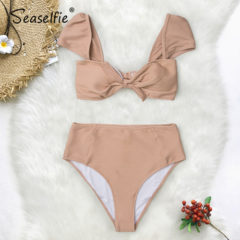 SEASELFIE Solid Nude High-waisted Bikini Set With Bowknot Women Sexy Tank Two Pieces Swimsuits 2020 Girl Beach Bathing Suits 3