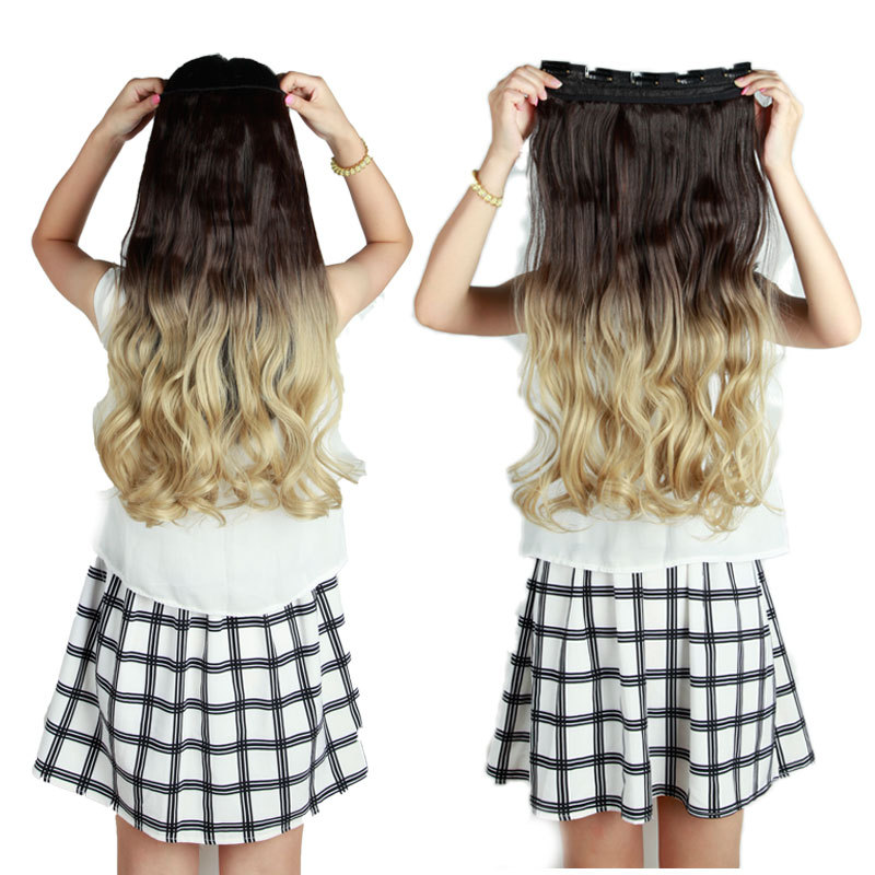 5 clips ombre clip in hair extensions synthetic hair wefts natural 5 clips ombre clip in hair extensions synthetic hair wefts natural hair one piece blonde brown auburn on aliexpress alibaba group pmusecretfo Choice Image