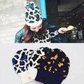 Estampado de leopardo de otoño e invierno las mujeres de ocio sombreros sombrero de punto de alta calidad hecha a mano de las señoras rizado borde sombrero