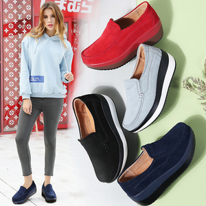 Image 5 - STQ 2020 Autumn Women Flat Platform Sneakers Leather Suede Moccasins Shoes Ladies Blue Casual Oxford Shoes Slip On Flats 3213