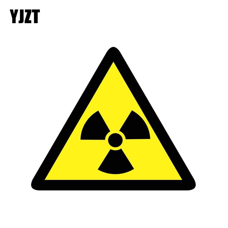 YJZT 14.4CM*12.5CM Danger Radiation Risk Car Sticker PVC Warning Decal 12-1376