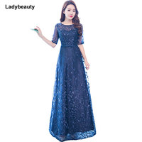 Ladybeauty Real Photos Vintage white Evening Dress V Neck prom dress A line Formal Party Dresses Evening Gown