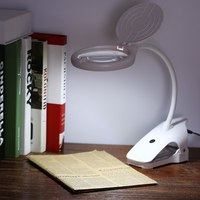 Clip on 2.3X/6X Magnifying Glass Magnifier Led Light Reading Magnifying Lens with 2 Adjustable Light Settings
