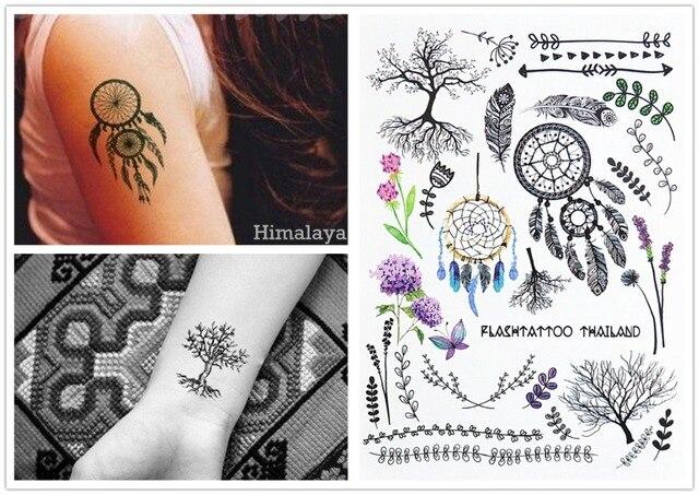 #389 Tree Dream Catcher Leaf Flower Arrow Lavender Temporary Tattoos Body Tattoo Sticker