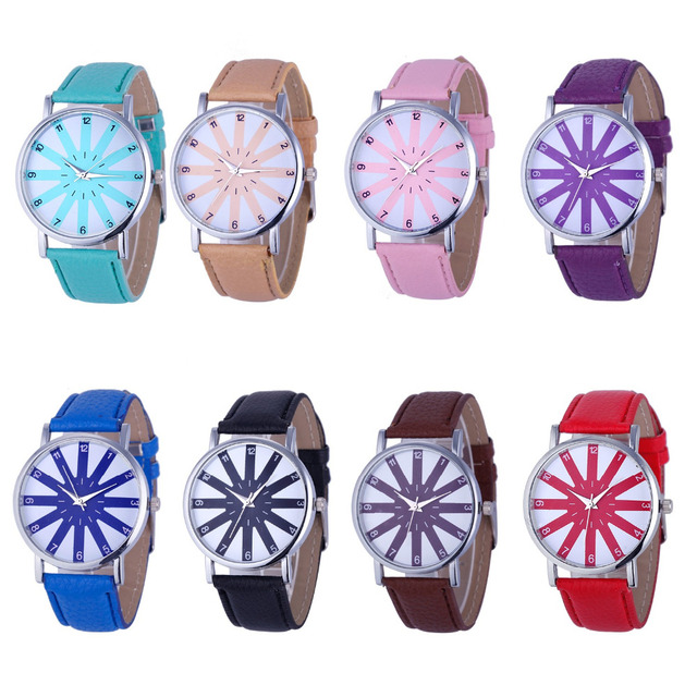 2016 most luxury top women watch famous brands Fashion Women's Geneva Fashion Leather Analog Stainless Steel Quartz Wrist Watch