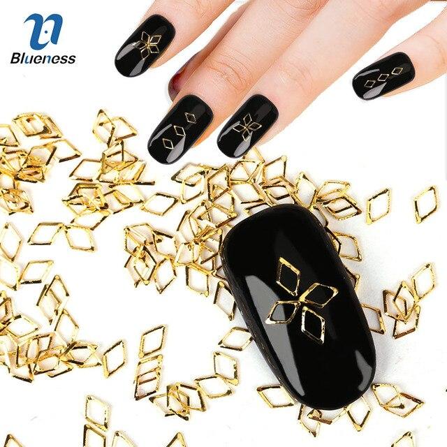 Geometric Model 3D Nail Art Decoration About 1000Pcs/Package Gold ...