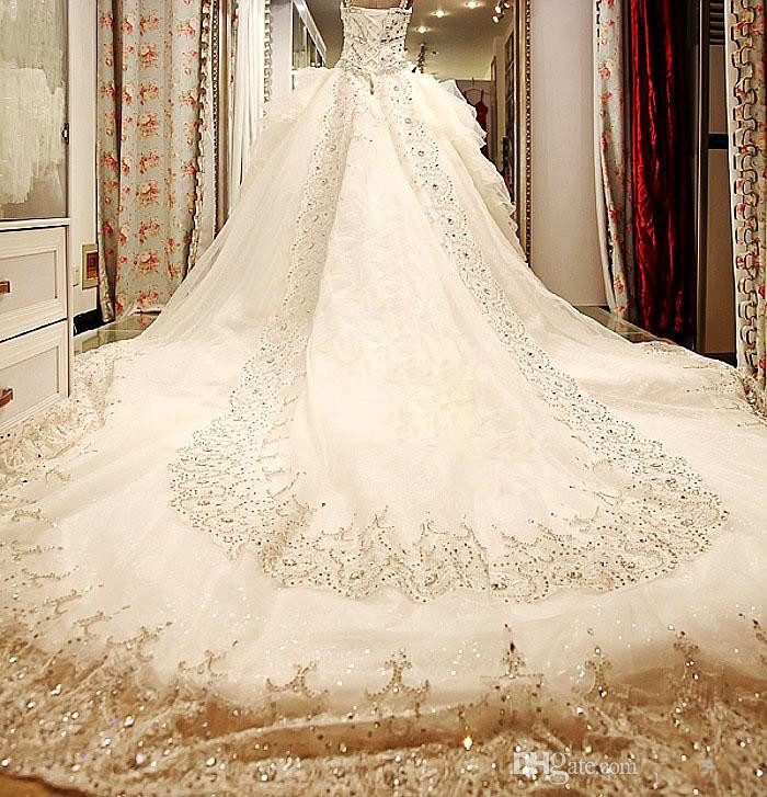 2017 Luxury Vintage Wedding Dresses Beads Cathedral Train Swarovski Crystals Actual Image Sweetheart Ball Gown In From Weddings