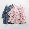 3-7years Meninas Roupas Polka Dot Vestido de Crianças Vestido de Algodão de Manga Longa para o Outono 2016 Moda Vestido Da Menina Crianças Vestido Ocasional