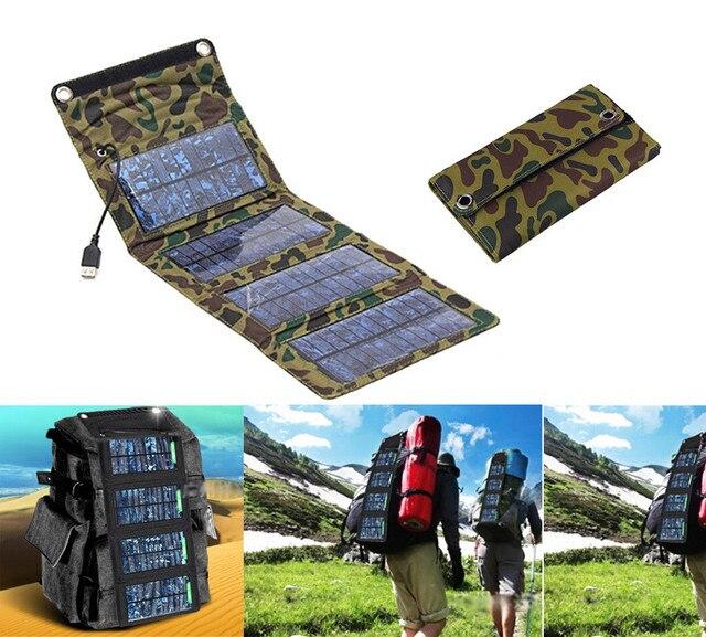 Складной Панели Солнечных Батарей Зарядное Источник Мобильный USB Зарядное Устройство для Сотовых телефонов GPS Цифровая Камера PDA 5 В 7 Вт Портативный зарядное устройство