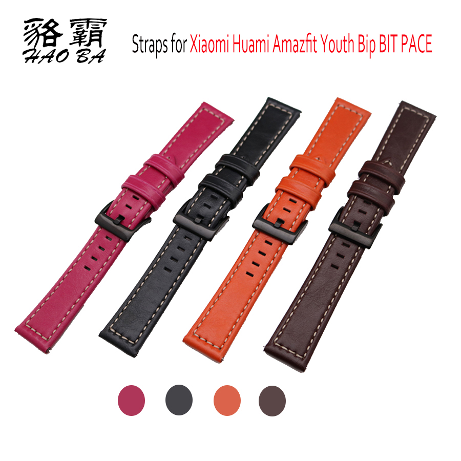 20mm Watchband Genuine Leather Watch Strap Band for Xiaomi Huami Amazfit Bip BIT PACE Lite Youth Smart Watch Replace wristband 20mm milanese loop stainless steel watchband for xiaomi huami amazfit bip bit pace lite youth smart watch band wristband strap