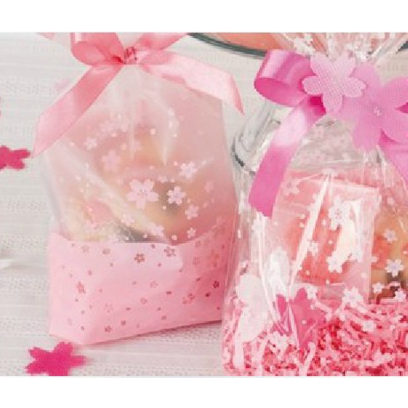 100pcs/lot Hot sale food packaging bags sweet peach pink bag sky cherry petals romantic gift bags children gift