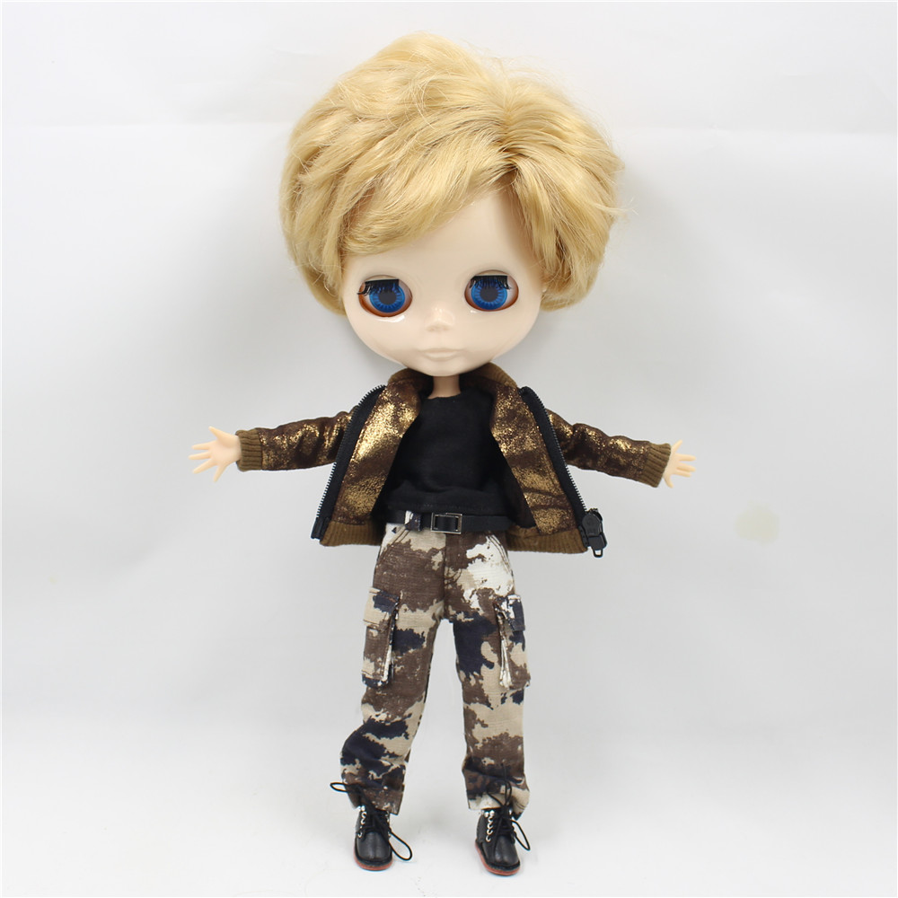 Free shipping military uniform pants coat for blyth doll icy jecci five licca 1/6 30cm camouflage boy cool suit outfits clothes 1pair shoessuitable for 1 6 doll normal doll joint doll bjd blyth icy jecci five licca body for 30cm doll shoes