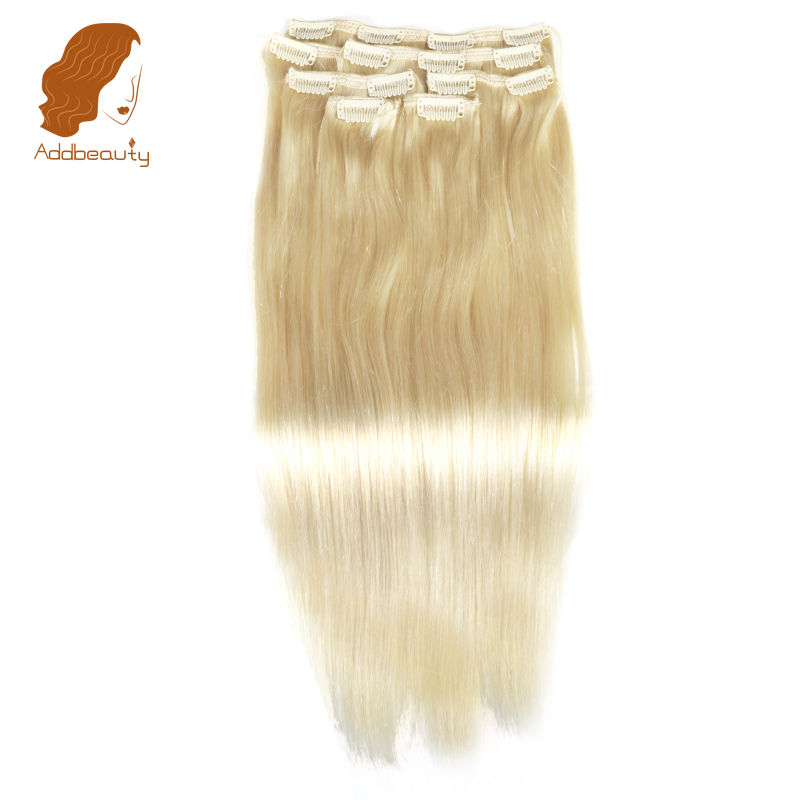 Addbeauty полной головки машина сделала Волосы Remy 120 gram 7 шт. #613 блондинка Цвет 14 дюймов-22 дюймов прямые клип В Пряди человеческих волос для наращи... ...