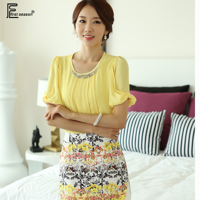 99db3c6ee327c 2018 Summer Tops New Hot Sale Korean Women Fashion Elegant Short Sleeve  Beaded Top Formal Ladies Patchwork Chiffon Yellow Blouse-in Blouses    Shirts from ...