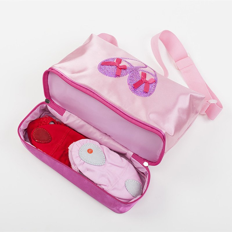 pink Embroidered Gym Bags Ballet Dance Bag Women Girls Ballet Sports Dance Backpacks Rucksack sequin Ballet Bag For Child Girls