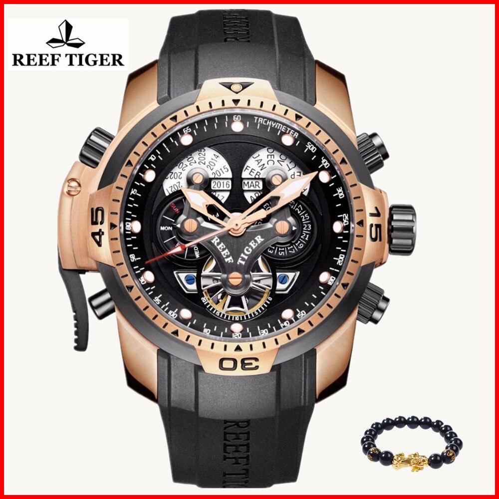 Reef Tiger Designer Watches Men Big Dial Complicated Watch Perpetual Calendar Waterproof Rubber Strap Watch Relogio Masculino 機械 式 腕時計 スケルトン