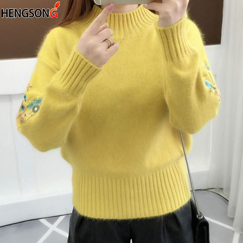 Winter Embroidery Turtleneck Sweater Knit Pullover Thick  Women Long Sleeve Sweater Female Pull Femme Sweater women