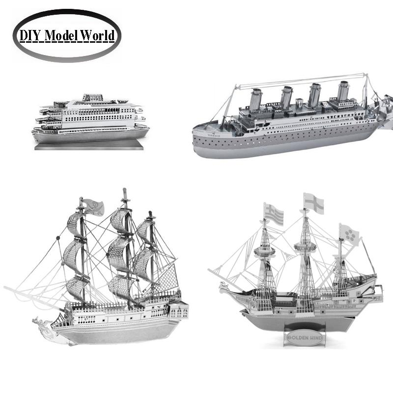 Laser cutting DIY metal model Metal Earth 3D Model Kits Set of 4 boats: Commuter Ferry Boat,Titanic,Golden Hind,Black Pearl